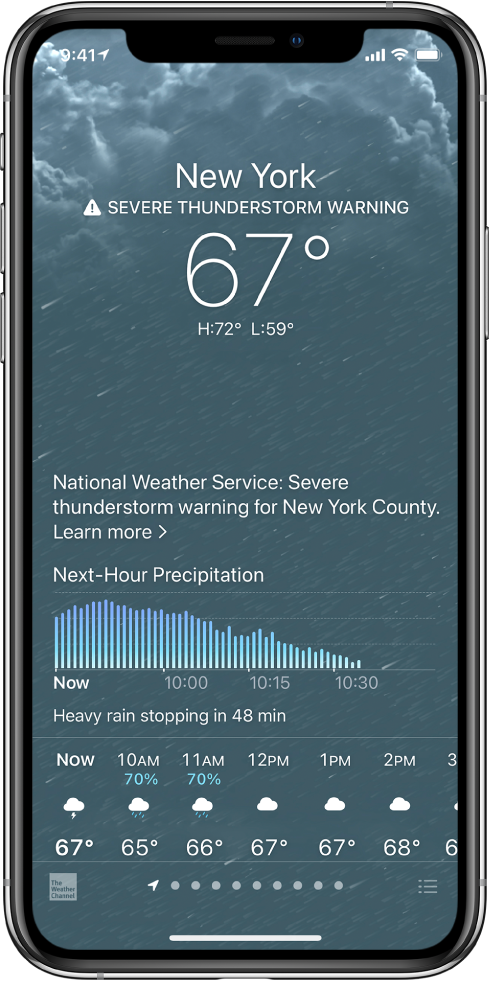 The Weather screen showing from top to bottom: the location, a severe thunderstorm warning, the current temperature, the high and low temperatures for the day, and a chart that shows the next-hour precipitation levels. At the bottom of the screen is the hourly forecast, followed by a row of dots that shows how many locations are in the location list. At the bottom right corner is the Edit Cities button.