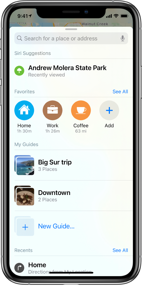"The search card fills the screen. The section for My Guides appears below the Favorites row. In the My Guides section are guides named ""Big Sur trip"" and ""Downtown,"" and an option for creating a new guide."