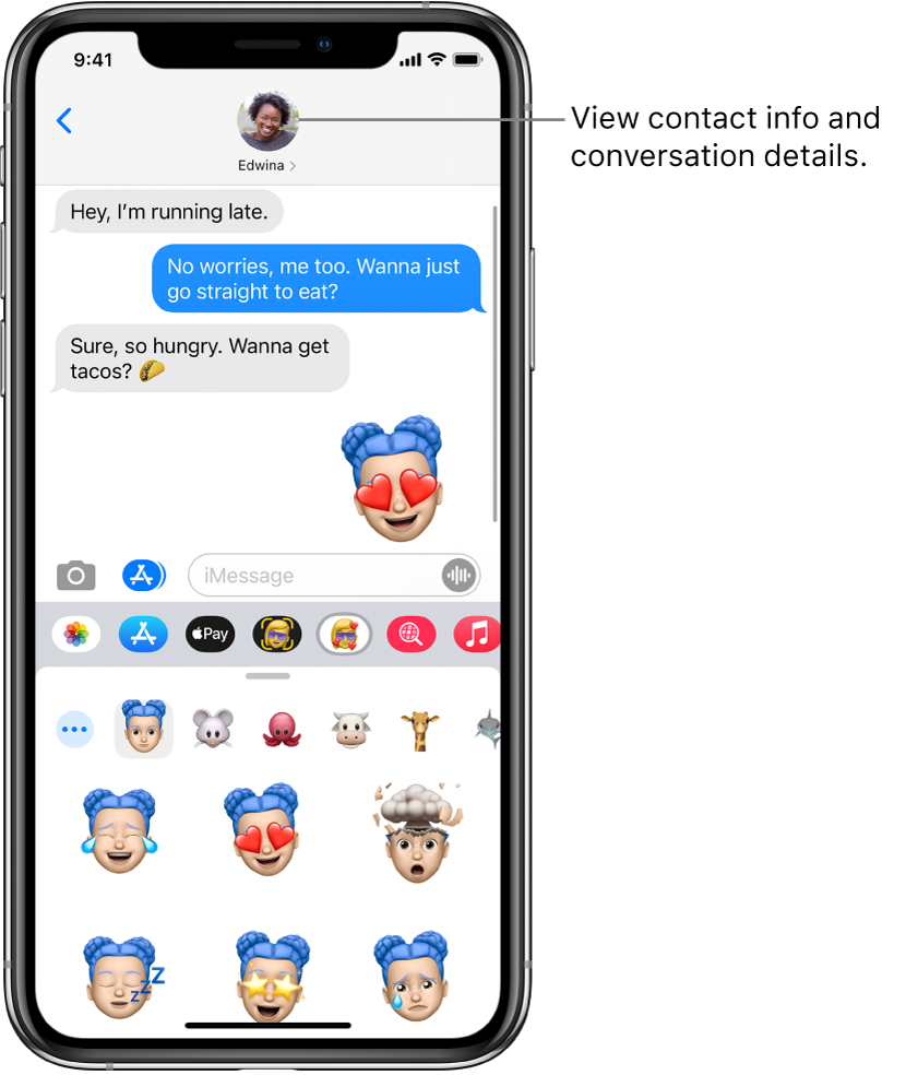 A Messages conversation. Along the top, from left to right, are the Back button, and a photo of the person you're messaging. At the center are the messages sent and received during the conversation. Along the bottom, from left to right, are the Photos, Stores, Apple Pay, Memoji, Hashtag Images, Music, and Digital Touch buttons.