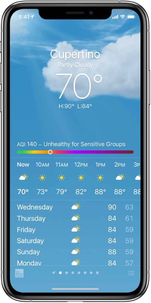 The Weather screen showing the location, current temperature, the high and low temperatures for the day, and an air quality index chart that reads Unhealthy for Sensitive Groups. In the middle of the screen is the current hourly forecast followed by the forecast for the next 7 days. A row of dots at the bottom center shows how many locations are in the location list. At the bottom right corner is the Edit Cities button.