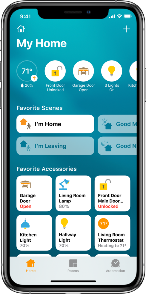 The home tab, showing scenes and accessories that have been marked as favorites. Accessory status buttons are also shown. Other tabs across the bottom are Rooms and Automation.