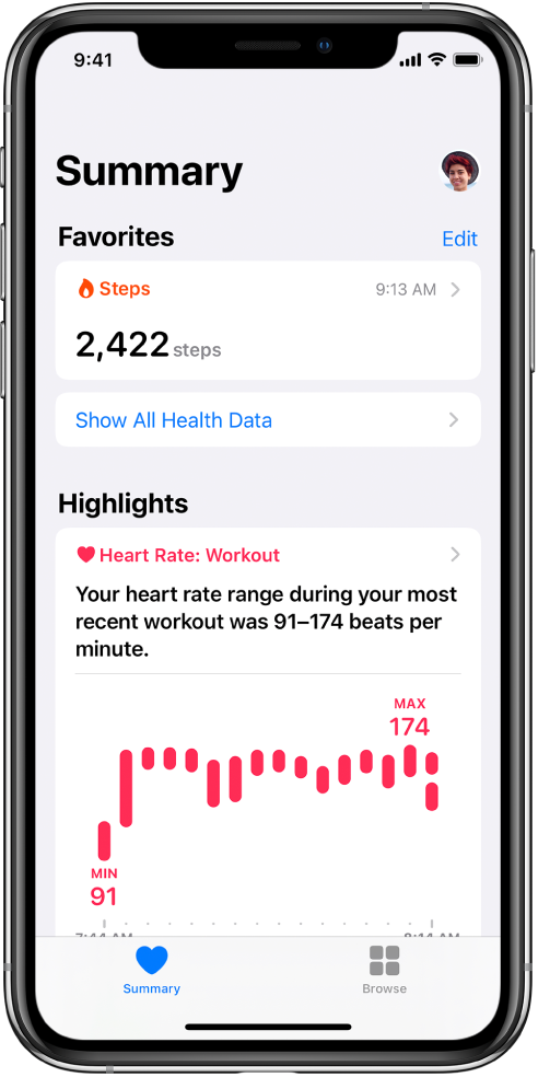 A Summary screen showing Steps as a category of Favorites. Below Highlights, the screen shows information about heart rate during the most recent work out.