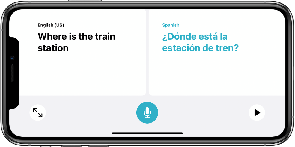 iPhone in landscape orientation, showing an English phrase on the left side and the Spanish translation on the right side.