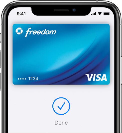 """Una tarjeta de crédito en la pantalla de la app Wallet. Debajo de la tarjeta hay una marca de verificación con la palabra """"OK""""."""