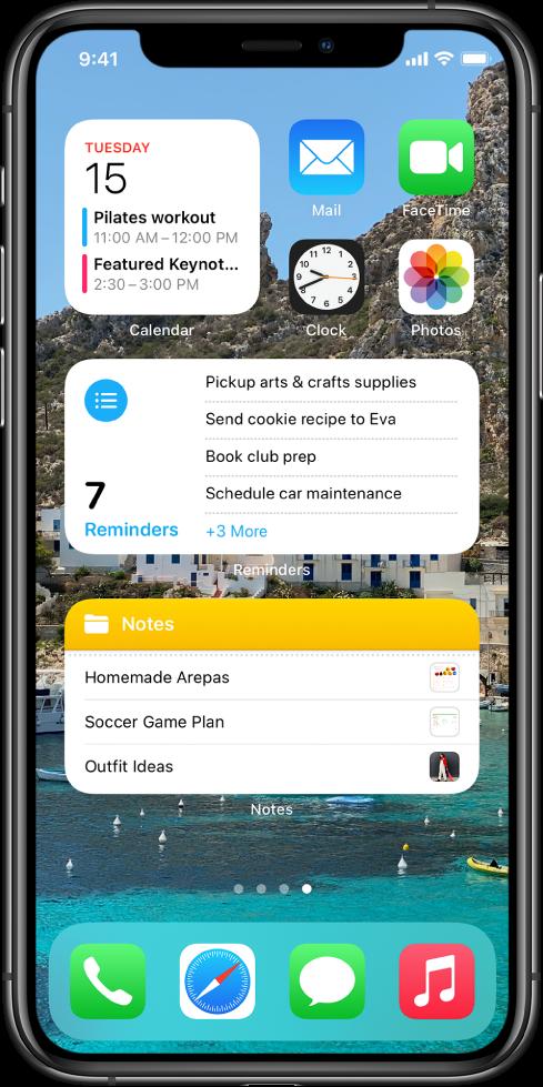 Se muestra la pantalla de inicio con apps y widgets de productividad que incluyen Calendario, Recordatorios y Notas.