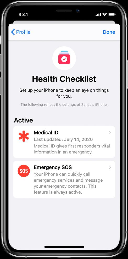 Terveys-apin tarkistuslista -näyttö, jossa näkyy että SOS-tiedot ja Hätätila SOS ovat aktiivisia.