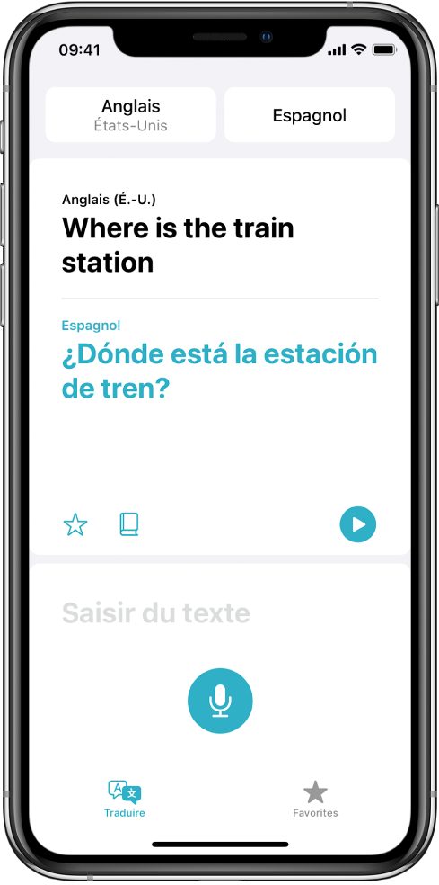 L'onglet Traduire, affichant deux sélecteurs deux langues, anglais et espagnol, en haut de l'écran, une traduction au milieu et le champ «Saisir du texte» en bas.