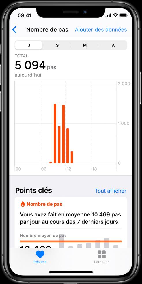 L'écran Résumé dans l'app Santé présentant un graphique représentant le nombre de pas effectués dans la journée. Des boutons permettant de consulter la progression par jour, semaine, mois ou année se trouvent en haut de l'écran. Le bouton Résumé se trouve en bas à gauche et le bouton Parcourir est en bas à droite.