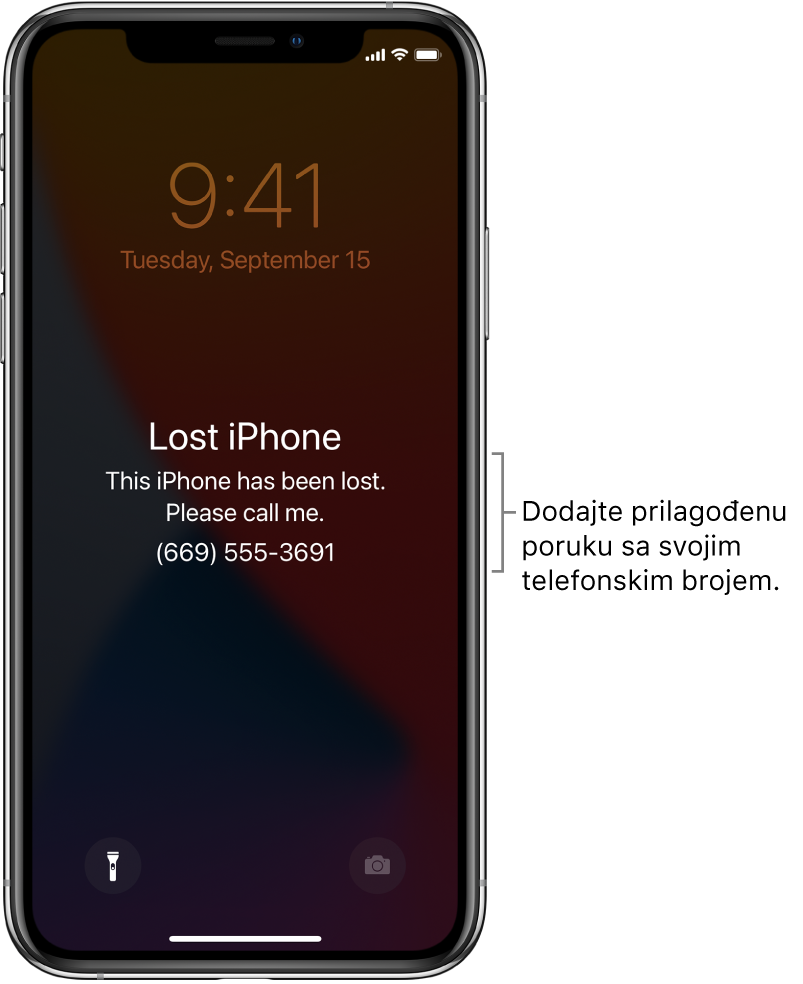 """Zaključani zaslon iPhonea s porukom: """"Izgubljeni iPhone. Ovaj je iPhone izgubljen. Nazovite me. (669) 555-3691."""" Možete dodati vlastitu poruku sa svojim brojem telefona."""