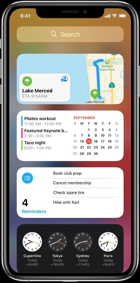 Widgeti Prikaza današnjih obavijesti na iPhoneu, uključujući Karte, Kalendar, Podsjetnike i widgete aplikacije Sat.