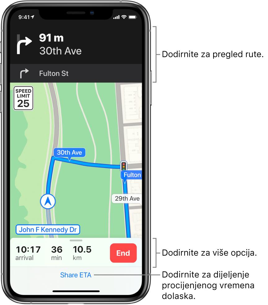 Karta prikazuje rutu za vožnju, uključujući uputu da se za 90 metara skrene desno. Blizu dna karte, s lijeve strane tipke Završi, prikazuju se vrijeme dolaska, vrijeme putovanja i ukupan prijeđeni put. Dijeli vrijeme dolaska pojavljuje se na dnu zaslona