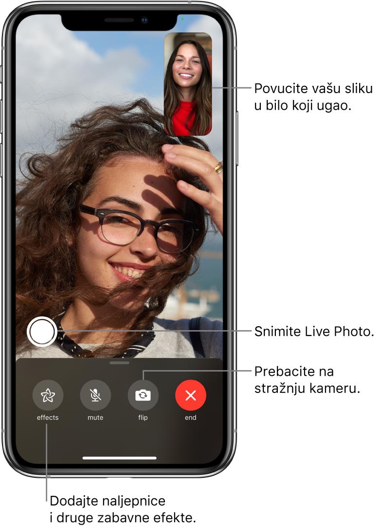 Zaslon FaceTime prikazuje poziv u tijeku. Vaša slika pojavljuje se u malom pravokutniku gore desno, a slika druge osobe popunjava ostatak zaslona. Duž donjeg dijela zaslona prikazuju se tipke Efekti, Bez zvuka, Obrni i Kraj. Tipka za snimanje LivePhoto fotografije nalazi se iznad.