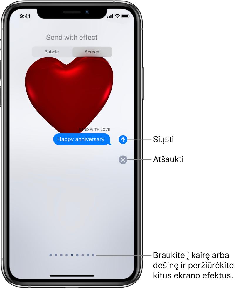 Žinutės peržiūra, kai rodomas viso ekrano efektas su raudona širdele.