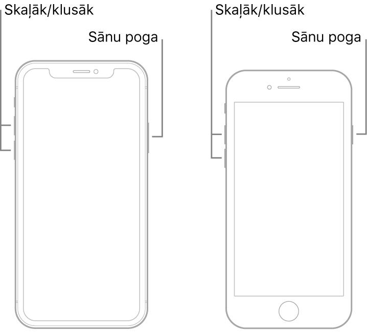 Ilustrācija ar divu veidu iPhone modeļiem; abiem ekrāns ir pavērsts uz augšu. Modelim pa kreisi nav sākuma pogas, bet modelim pa labi sākuma poga atrodas apakšdaļā. Abiem modeļiem skaļuma palielināšanas un samazināšanas pogas ir redzamas ierīču kreisajā malā, bet ierīču labajā malā ir redzamas sānu pogas.