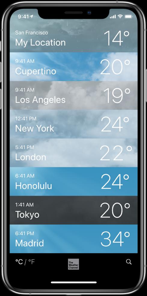 Pilsētu saraksts, kurā katrai pilsētai norādīts laiks un pašreizējā temperatūra.