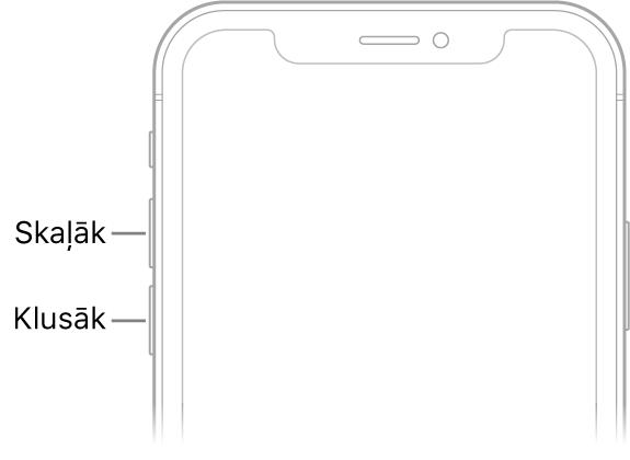 iPhone tālruņa priekšpuses augšējā daļa ar skaļuma palielināšanas un samazināšanas pogām kreisajā augšējā stūrī.