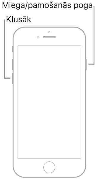 Attēls ar iPhone7 tālruni, kuram uz augšu pavērsts ekrāns. Skaļuma samazināšanas poga atrodas ierīces kreisajā malā, bet labajā malā ir redzama miega/pamošanās poga.