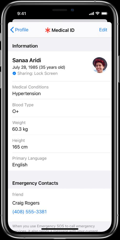 MedicalID ekrāns ar informāciju par dzimšanas datumu, veselības stāvokli, medikamentiem un ārkārtas kontaktpersonu.