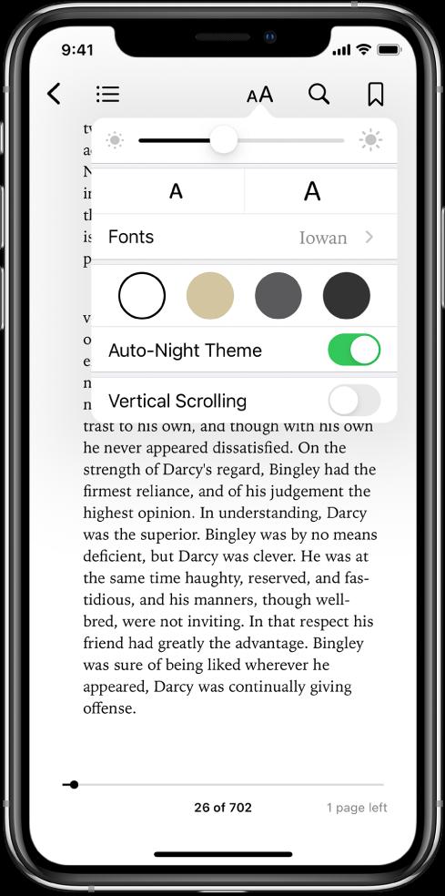 Izskata izvēlne, kurā virzienā no augšas uz leju ir pieejamas spilgtuma, fontu lieluma, fontu, lappušu krāsas, automātiskā nakts motīva un ritināšanas skata vadīklas.