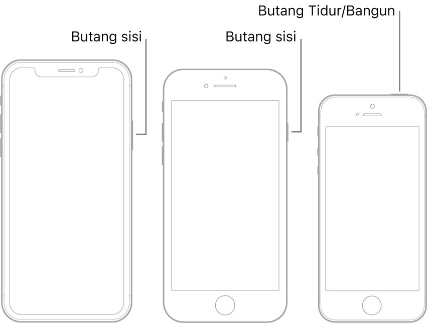 Ilustrasi menunjukkan lokasi butang sisi dan Butang Tidur/Bangun pada iPhone.