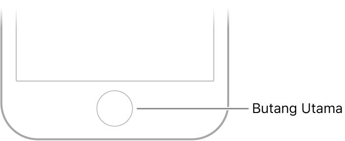 Butang Utama di bahagian bawah iPhone.
