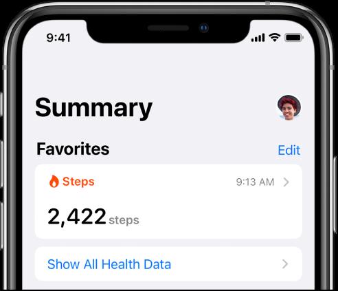 Skrin Ringkasan menunjukkan gambar profil di bahagian kanan atas.