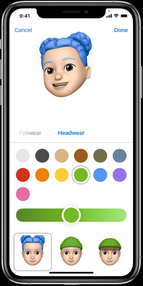 Skrin cipta Memoji menunjukkan watak sedang dicipta di bahagian atas, ciri untuk menyesuaikan di bahagian bawah watak, kemudian di bawahnya, pilihan untuk ciri yang dipilih. Butang Selesai berada di bahagian kanan atas dan butang Batal berada di bahagian kiri atas.