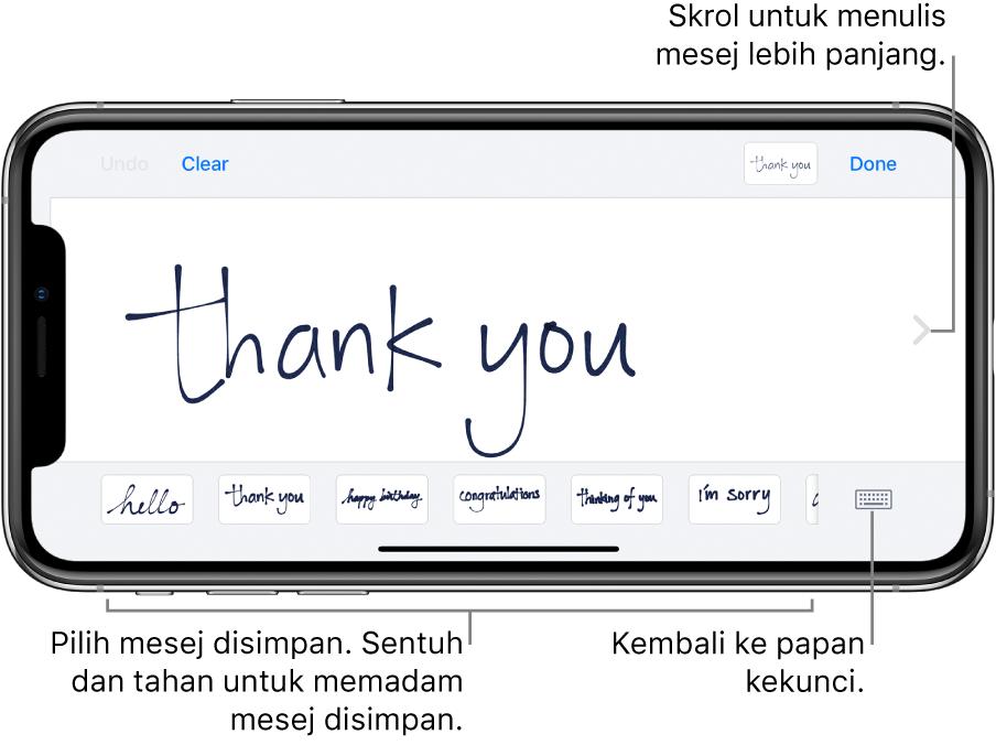 Skrin tulisan tangan dengan mesej tulisan tangan. Di sepanjang bahagian bawah, dari kiri ke kanan, ialah mesej disimpan dan butang Tunjukkan Papan Kekunci.