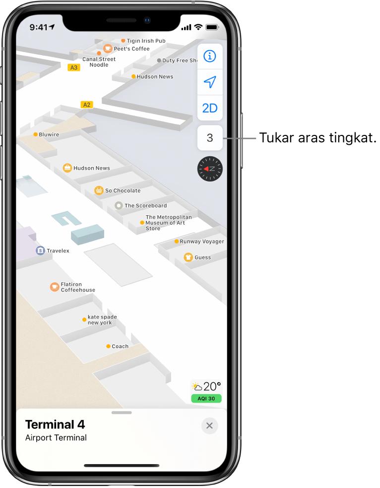 Peta dalaman terminal lapangan terbang. Peta menunjukkan perniagaan dan pintu naik.