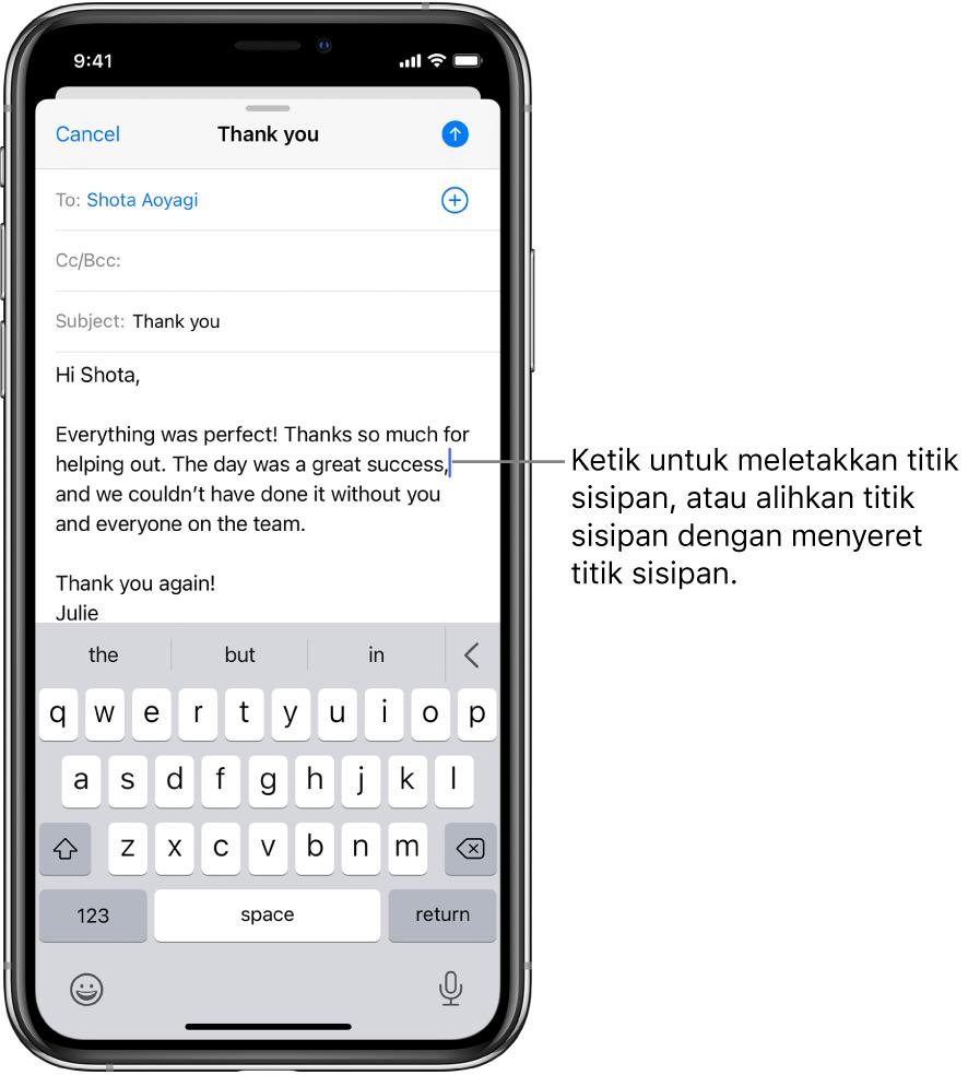 E-mel draf menunjukkan titik sisipan ditempatkan tempat teks akan dimasukkan.