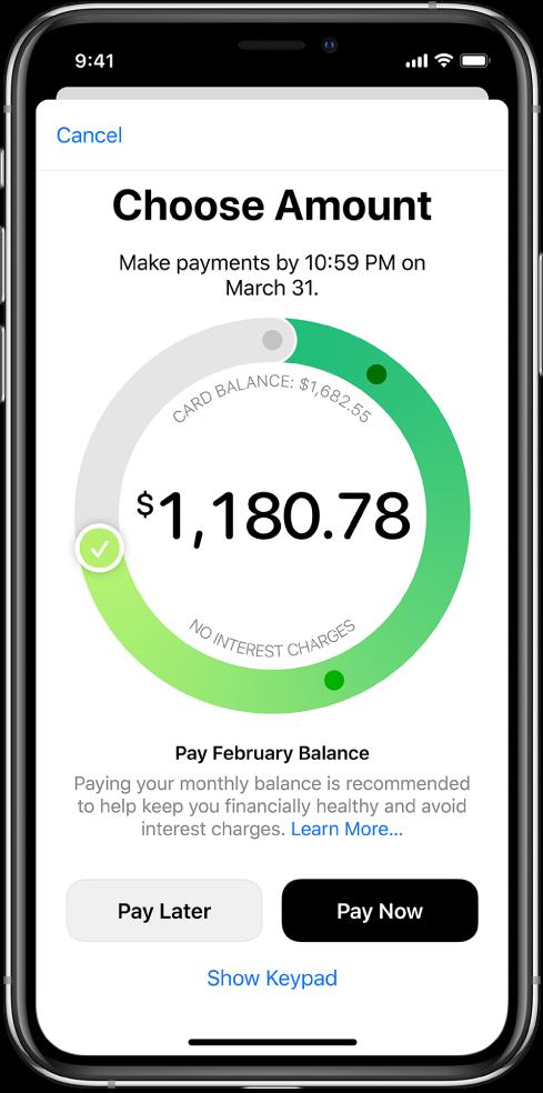 Skrin bayaran, menunjukkan tanda semak yang anda seret untuk melaraskan jumlah bayaran. Di bahagian bawah, anda boleh memilih untuk membayar pada tarikh kemudian atau bayar sekarang.
