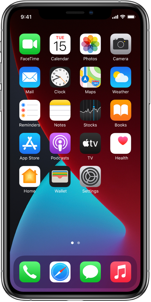 Skrin Utama iPhone dengan ModGelap diaktifkan.
