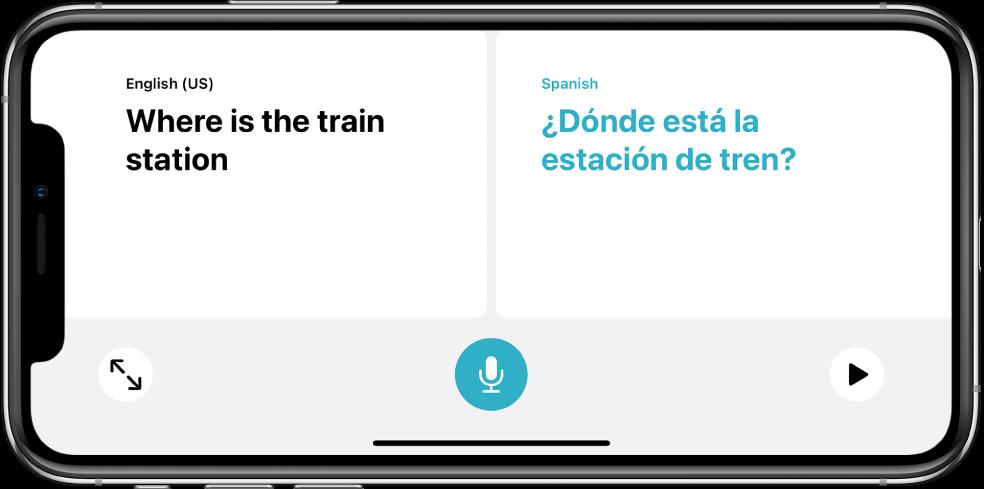 iPhone dalam orientasi landskap, menunjukkan frasa Inggeris di sebelah kiri dan terjemahan Sepanyol di sebelah kanan.