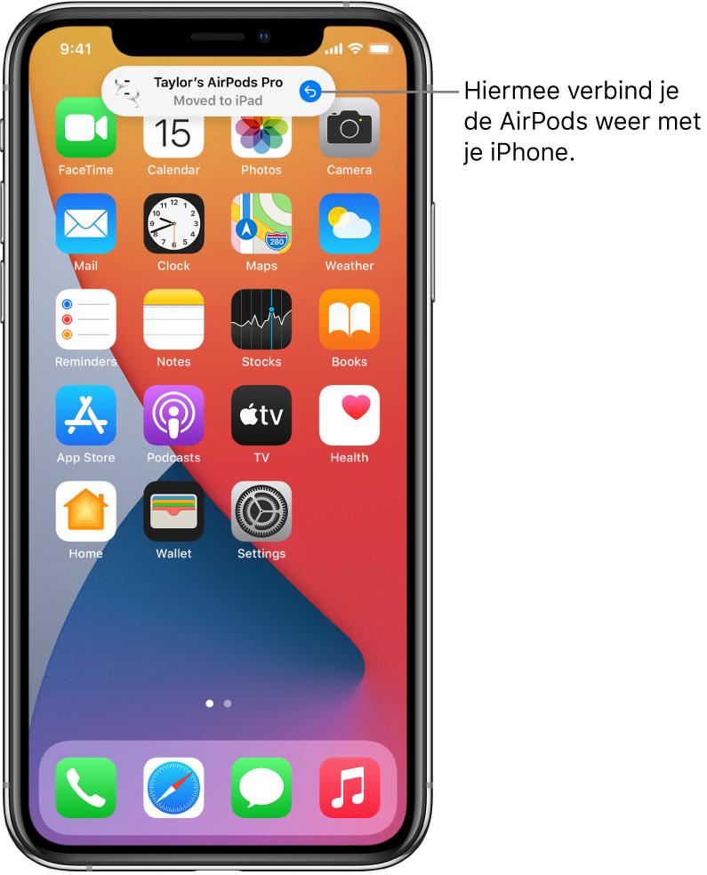"""Het toegangsscherm met bovenin het bericht """"AirPodsPro van Taylor Verplaatst naar iPad"""" en een knop waarmee je de AirPods weer verbinding laat maken met je iPhone."""