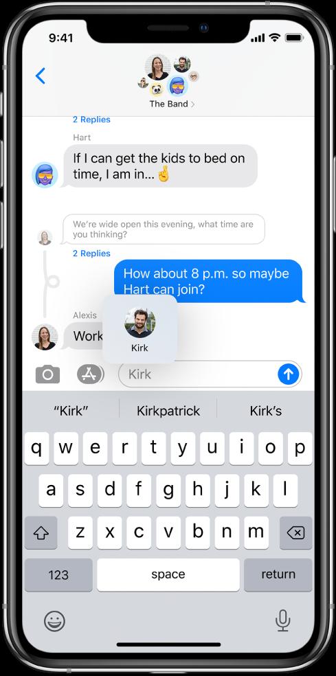 Gesprek in de Berichten-app. In het tekstveld wordt Kirk genoemd, zodat hij een melding van het bericht krijgt.