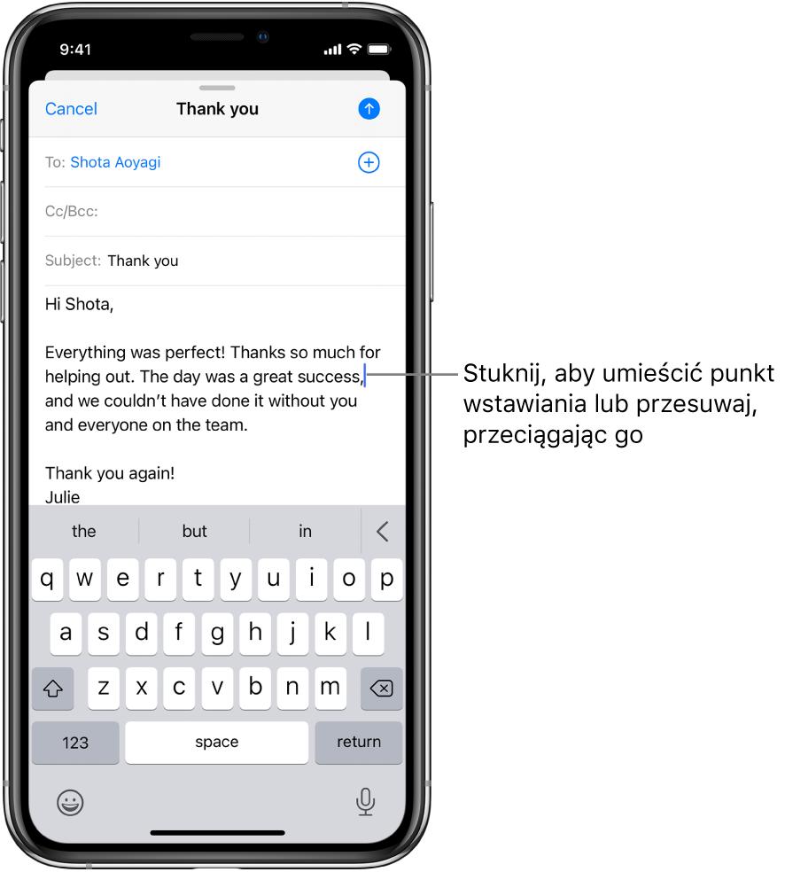 Robocza wiadomość email. Punkt wstawiania umieszczony jest wmiejscu, wktórym zostanie wstawiony tekst.