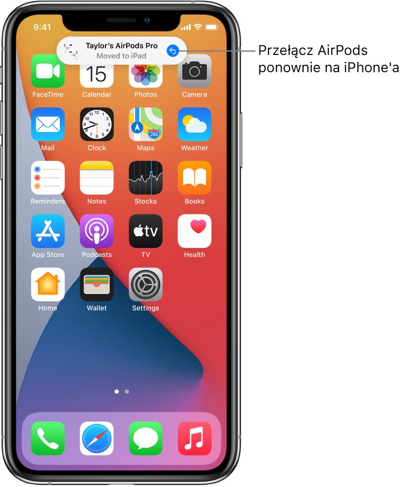 Zablokowany ekran zkomunikatem informującym oprzełączeniu słuchawek AirPodsPro na iPada oraz przyciskiem umożliwiającym przełączenie ich zpowrotem na iPhone'a.