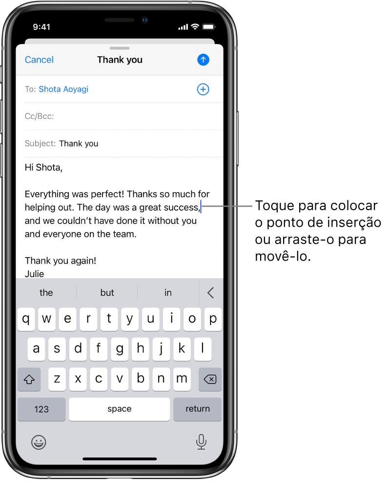 Um rascunho de e‑mail mostrando o ponto de inserção posicionado onde o texto será inserido.