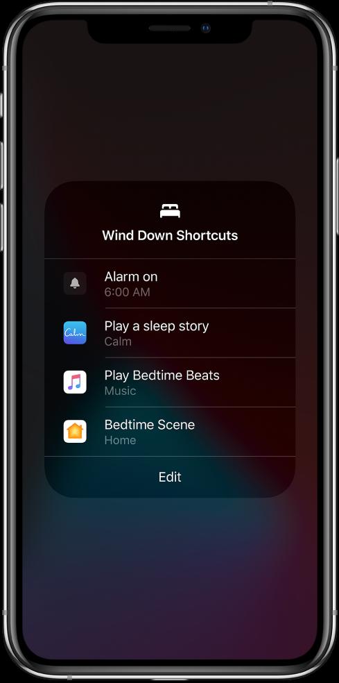 """O ecrã """"Atalhos para descontrair"""" com atalhos para reproduzir uma história de dormir, reproduzir batidas de hora de deitar e iniciar um cenário da aplicação Casa para a hora de deitar."""