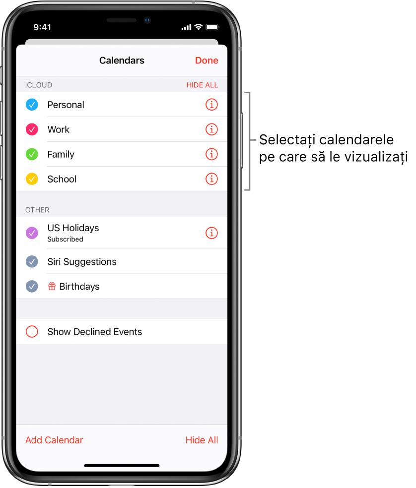 Lista de calendare indică prin bife calendarele active. Butonul OK pentru închiderea listei se află în colțul din dreapta sus.