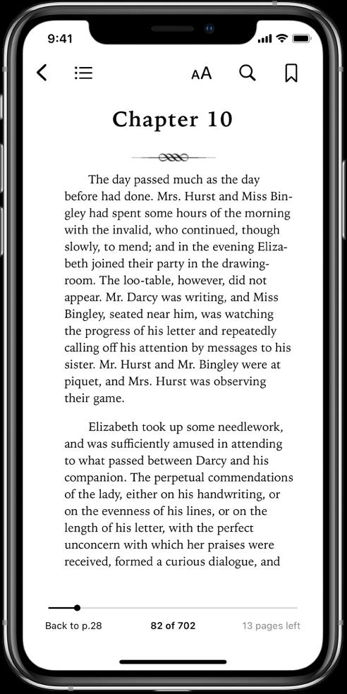 Pagina unei cărți deschise în aplicația Cărți cu butoane în partea de sus a ecranului, de la stânga la dreapta, pentru închiderea cărții, vizualizarea tablei de materii, modificarea textului, căutare și adăugarea unui semn de carte. În partea de jos a ecranului există un glisor.