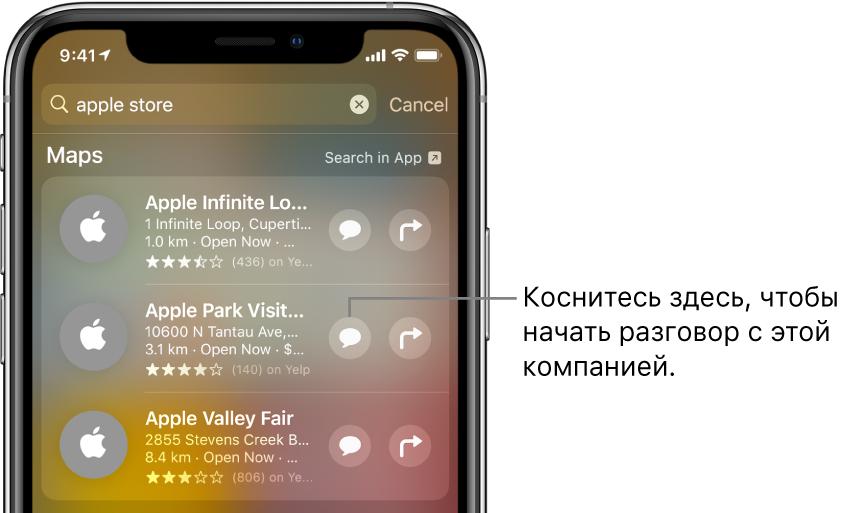 Экран поиска, на котором показаны найденные объекты для приложения «Карты». Возле каждого результата поиска показано краткое описание, оценка или адрес, а возле каждого веб-сайта— URL-адрес. Возле второго результата показана кнопка, касанием которой можно начать деловой чат с Apple Store.