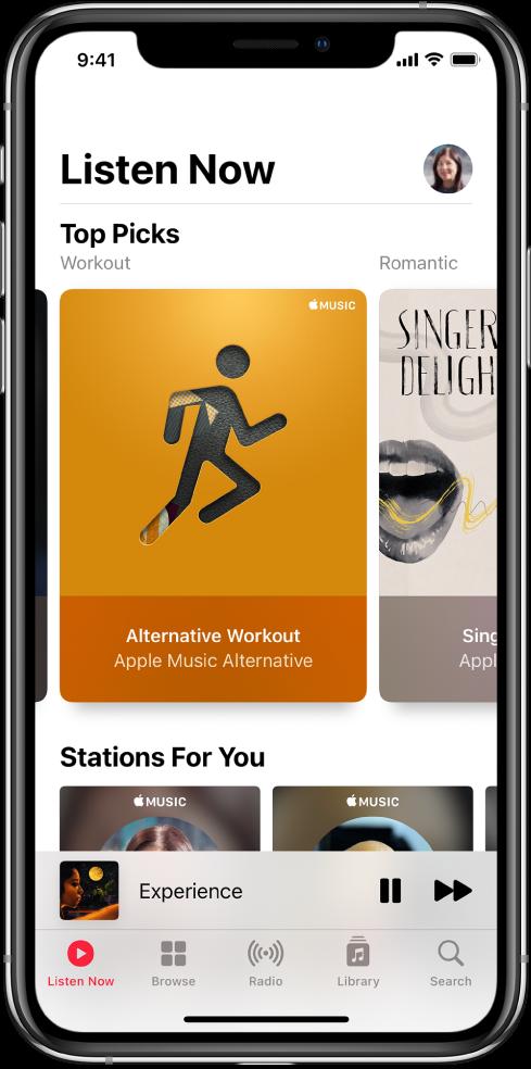 Obrazovka Na vypočutie stlačidlom profilu vpravo hore. Nižšie sa nachádzajú playlisty Najlepšie výbery. Pod tým je časť Stanice pre vás, vktorej sa zobrazujú dve stanice.