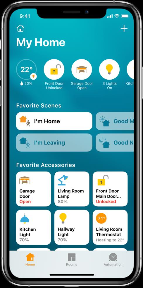 Zavihek o domu, na katerem so prikazani scenariji in pripomočki, ki so bili označeni kot priljubljeni. Prikazani so tudi gumbi s stanjem pripomočkov. Druga zavihka na dnu zaslona sta »Rooms« in »Automation«.