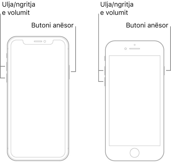 Ilustrimet e dy modeleve të iPhone me ekranet e kthyera lart. Modeli më majtas nuk ka një buton Home, ndërsa modeli më djathtas ka një buton Home pranë pjesës së poshtme të pajisjes. Për të dyja modelet, butonat e volumit lart dhe volumit poshtë shfaqen në anët e majta të pajisjeve dhe një buton anësor shfaqet në anët e djathta.