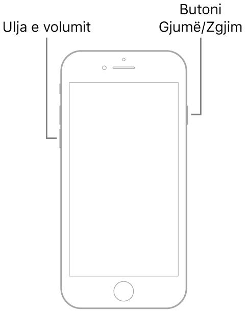 Një ilustrim i iPhone 7 me ekranin e kthyer lart. Butoni i volumit poshtë shfaqet në anën e majtë të pajisjes dhe butoni Sleep/Wake shfaqet në të djathtë.