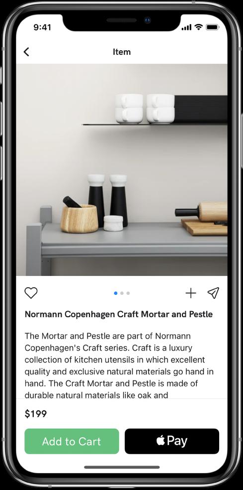 Një aplikacion që tregon një ekran pagese që përfshin butonin Buy with Apple Pay.