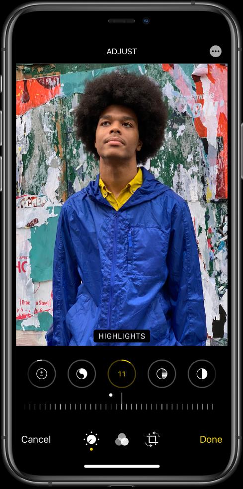 Екран за уређивање са фотографијом на средини. Испод фотографије су дугмад за уређивање Highlights, Shadows, Brightness, Blackpoint и Saturation. Изабрана је опција Brightness. Испод дугмади за уређивање налази се клизач за прилагођавање нивоа опције Brightness. Испод клизача, слева надесно, налазе се дугмад Cancel, Edit, Filters, Crop и Done. Дугме More Options се налази у горњем десном углу.