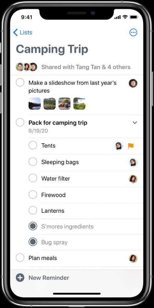 Екран апликације Reminders на којем је приказана листа подсетника. Дугме Reminders се налази у доњем левом углу.