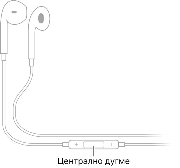 Apple EarPods; централно дугме се налази на каблу који је повезан са бубицом за десно ухо.